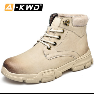 New Fashion Sand Brown Black Fur Winter High Top Military Boot Autumn Casual Sneakers Men Wear Resistent Tooling Shoes Q1202