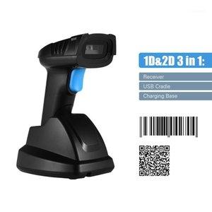Aibecy 1D 2D QR Scanner sem fio de código de barras de código de barras com USB Cradle Receiver Base de carregamento 100M longa transmissão distância1