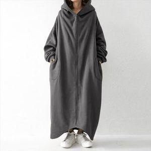 2020 Winter Fleece Outwear Autumn Hooded Long Coat Women Zipper Hoodies Long Sleeve Jackets Sweatshirt Robe Oversized