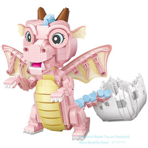 LOZ Cute Pink Flying Dragon Mini Building Blocks Model, DIY Assembly Educational Toy, Ornament for Christmas Kid Birthday Gift, 1122, 2-1