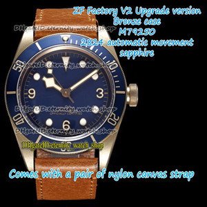 ZFF V2 Version Version Bronze Case ETA A2824 Automatic Blue Dial 79250 Mens Assista Antique Leather Band Sport Eternity Relógios 0003 0004 0002