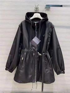 Kadın Ceket Uzun Rüzgarlık Kukullu Kemer Ayarlamak Ceketler İlkbahar Sonbahar Tarzı Mont Kollu Yelek Kaldır Siyah ve Beyaz Opsims Boyutu S-L