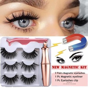3Pairs Magnet Eyelash Magnetic Liquid Eyeliner& Magnetic False Lashes & Tweezer Set Waterproof Long Lasting Eye Extension Tools