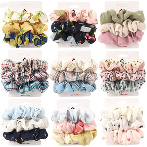 3pcs set 37 Styles Scrunchie Hairbands Hair Tie girls for Hair Accessories Satin Scrunchies Stretch Ponytail Holders Handmade Gift M3141