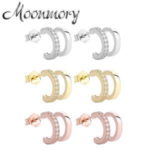 Moonmory 925 esterlina prata estereoscópica metade redonda brinco de piercing para mulheres incomuns brincos de luxo 2021 tendência jóias presente