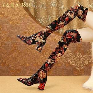 Sarairis 2021 New Brand Matrure Pointed Toe Thick Heels Over The Knee High Boots Woman Shoes Retro Flower slip-on Shoes Ladies