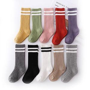 1-9 Years Kids Boys Toddlers Girls Socks Knee High Long Soft Cotton Baby Socks Stripped Children Socks School Clothes