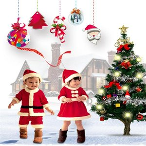 2020 Fashion Girl Boy Christmas Costume Santa Hat Jumpsuit Clothes Set Cute Toddler Kids Clothes Hot Sale