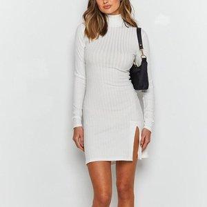 Reine Farbe Enge Kleid Langarm High Neck Stretch Slim Fit Kleid Mode Lässig Herbst Neue Sexy Split Weibliche