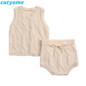 New Born Baby Boy Clothes Set Winter Autumn Baby Girls Knitted Cardigan Swater+Bloomers Children Knit Sweater Set Twins Clothing C1118