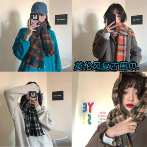 Yuqi's same British style imitation cashmere scarf for women's winter oil painting with check pattern