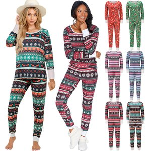 Noel Kadın Pijama Pijama Uzun Kollu Gömlek Pantolon 2 Adet Casual Noel Giysileri Sonbahar Kış Için Yeni