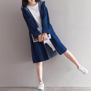 Trenchs de Femme Coats 2021 Automne Femmes Plus Taille Denim Manteau en vrac Grande Femme Casual Casual Cardigan Windbrequin Jaquate Z707