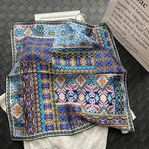 17 estilos hermosos impresos 100% seda sarga bufanda bandana hijab cartón de cabeza diadema bufandas pañuelos 50 * 50 cm