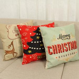 Christmas Cushion Case Pillow Case Cover Cartoon Printed Cushion Cover Linen Pillow Cover Cartoon Home Textiles 11styles RRA3824