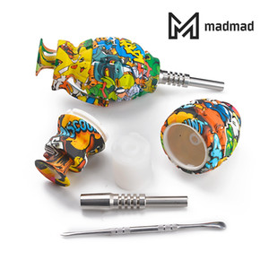 Water transfer printing silicone grenade nectar collector with stainless steel nail and dabber oil burner NC kit dab straw