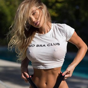 No Bra Club Letter Womens Loose Pullover Short T Shirt Short Sleeve White Tops Shirt Colloge Crop