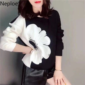Neploe O Neck Thick Warm Hoodies Contrast Color Patchwork Flower Pattern Sweatshirt Autumn Winter Long Sleeve Pullover Top 48143 LJ201120