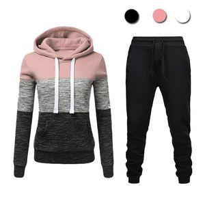 Winter Casual Tracksuit Women 2 Piece Set Hoodies+Pants Sportwear Women's Sports Suit Hooded Sweatshirt Set Female Clothes Y1123