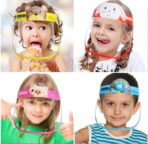 Envío rápido Niños Dibujos animados Face Shield PET anti-niebla Aislamiento Máscara protectora completa Cubierta de cabeza transparente en stock Venta