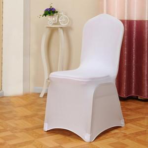 Yeni 1 adet Beyaz Düz Kemerli Ön Kapakları Spandex Likra Sandalye Kapak Düğün Ziyafet Dekorasyon Şenlikli Parti Malzemeleri