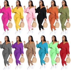 Women Designers Clothes 2020 Solid Color Temperament Casual Two Piece Long Sleeve Pants Set Plus Size S-4XL