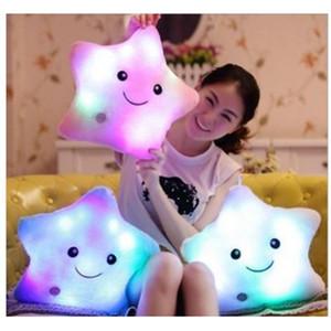 Luminous Cute Pillow 30cm*30cm Star Heart Bear Paw Led Light Plush Pillow Night Light Kids Cushion Christmas Toy Wholesale