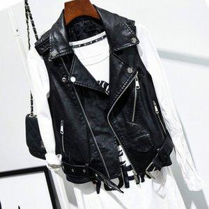 BJYL New PU leather waistcoat women motorcycle vest coat sleeveless vests large size 4xl