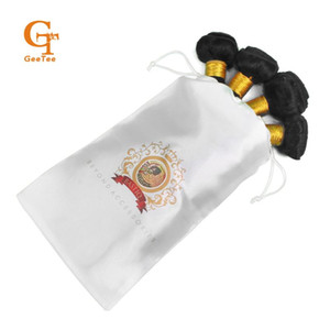 Custom Logo Human Virgin Hair bundle packing Satin Bag,customized women Hair Extension silk packaging Bag bags with Drawstring