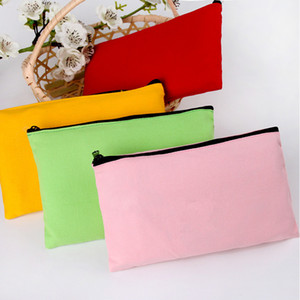 Colorful Canvas Zipper Pencil Cases Pen Pouches Cotton Cosmetic Bags Makeup bags Mobile Phone Clutch Bag Organizer Factory wholesale LX03311