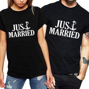 편지 그냥 결혼 재미있는 티셔츠 여성 여름 탑 연인 여성 휴가 허니문 티셔츠를위한 새로운 커플 티셔츠