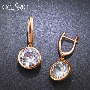 OCESRIO Korean Fashion Cubic Zirconia Rose Gold Earrings for Women Gold 585 Earrings Hanging 585 Jewelry Earings ers-j82