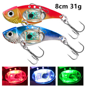 1pc Colorful 8 cm 31 g LED Attracting Fish Lamp VIB Spoons Fishing Hooks 4# Hook Metal Baits & Lures Pesca Fishing Tackle F37-347