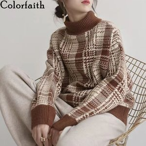 Colorfaith New 2020 Women's Autumn Winter Knitwear Turtleneck Plaid Warm Pullover Oversize Vintage Checkered Jumpers SW1091JX F1204