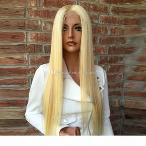 8A Silky Straight #613 Blonde Lace Front Wigs For Balck Women Virgin Brazilian Honey Blond Hair Glueless Full Lace Human Hair Wigs Baby Hair