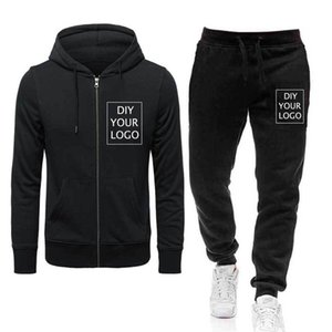 Diy Your Hoodies Suits Print Photos Zipper Hoodies and Pants Custom Own Brand Sweatshirts Drop Shipping Pullover Tracksuits Y201123
