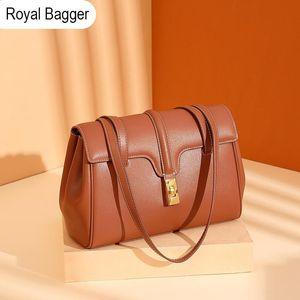 Royal Bagger Shoulder Bags for Women Genuine Cow Leather Large-capacity Simple Fashion Modern Handbag Trendy Elegant Tote Bag