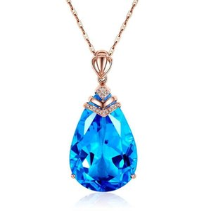 Rose God Color Blue CZ Crystal Necklace Chokers Waterdrop for Women Girls Gift Party Jewelry Dropshipping Wholesale