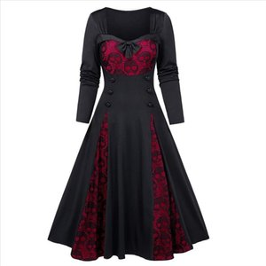 Halloween Cosplay Costumes Scary Vampire Witch Costume For Women Plus Size Halloween Skull Lace Insert Mock Button Bowknot Dress