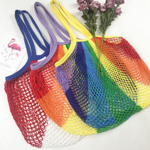 Colorful Net Pocket Large Capacity Tote bag Mesh Shopping Bag Reusable String Fruit Storage Handbag Shop Grocery Tote Bag HWE3139