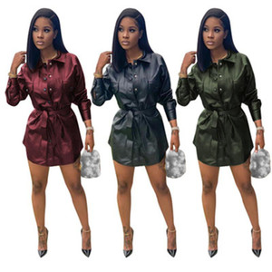 Women PU Leather Skirt Fashion Trend Sexy Single-breasted Long Sleeve Short Skirts Designer Female Elasticity Slim High Waist Casual Dress