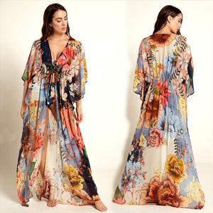 2020 Multicolored Bohemian Floral Printed Long Kimono Cardigan Tunic Women Plus Size Beachwear Clothes Tops Blouse N1030