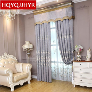 Modern  chenille 3D embroidered villa curtains for living room windows decoration classic elegant curtains for bedroom