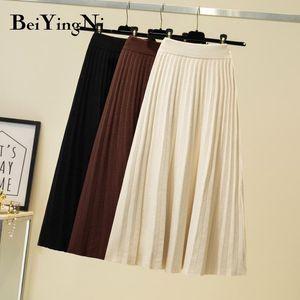 Beiyingni 2020 Autumn Winter Skirts Womens Knitted Leisure Solid Retro High Waist Faldas Female Black Fashion Skirt Ladies Jupes