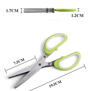 Stainless Steel 5 Layers Scissor Kitchen Multi Function Scallion Shredded Scissors Shears Home Cooking Tools Clippers 5 5lt G2