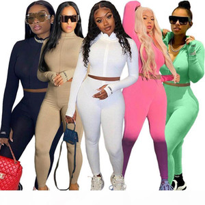 5 Colors Two Piece Set Women Knitted Tracksuit Autumn Turtleneck Embroidery Crop Top and Pants Sport 2 Piece Sets Womens Outfits