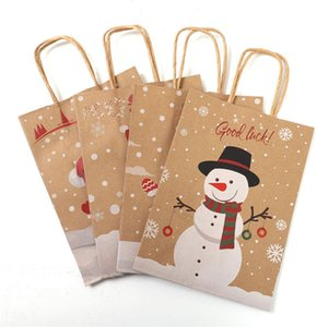 Christmas Kraft Paper Packaging Bag Merry Christmas Goodie Bags Diy Gift Snowman Printed Portable Paper Bag with Handle Bulk