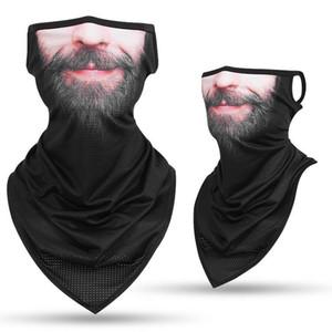 Men Women Triangle Bandana Summer Face Cover Shield Hanging Ear Tube Scarf Ice Silk Neck Gaiter Balaclava Breathable Headband