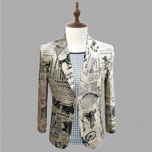 printing newspaper New jackets Personalized costumes men wedding presenter dresses mens Korean nightclubs bars DJ suits S-5XL