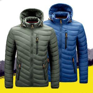 Mens Parkas Autumn Winter Thick Puffer Jacket Cotton-Padded Hooded Duck Jacket Mens Winter Jacket Breast Pockets Zipper 201130
